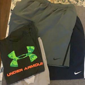Nike Athletic Shorts {TWO} + Two Shirts FREE Sz L
